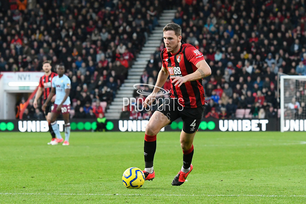 Dan Gosling (4) of AFC Bournemouth on the attack during the Premier League match between Bournemouth and Aston Villa at the Vitality Stadium, Bournemouth, England on 1 February 2020.
