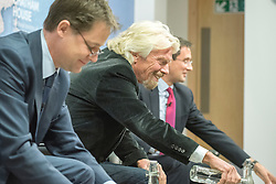 © Licensed to London News Pictures. 04/03/2015. London, UK. NICK CLEGG, RICHARD BRANSON. The Deputy Prime Minister, Nick Clegg, joins Sir Richard Branson for an event at Chatham House London today 4th March 2015 to discuss how the current approach to tackling the international drugs trade is failing and whether the UK can help rectify the situation. Photo credit : Stephen Simpson/LNP