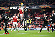Arsenal's Laurent Koscielny (6) wins this header during the Europa League group stage match between Arsenal and FK QARABAG at the Emirates Stadium, London, England on 13 December 2018.