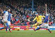MK Dons midfielder Samir Carruthers (14)  scores for MK Dons  during the Sky Bet Championship match between Blackburn Rovers and Milton Keynes Dons at Ewood Park, Blackburn, England on 27 February 2016. Photo by Simon Davies.