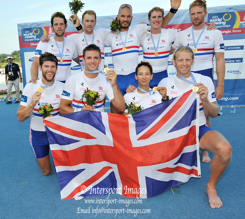 Chungju, South Korea. Men's Eights Awards Dock GBR M8+ Daniel RITCHIE (b) , Tom RANSLEY (2) , Alex GREGORY (3) , Pete REED (4) , Mohamed SBIHI (5) , Andrew TRIGGS HODGE (6) , George NASH (7) , William SATCH (s) , Phelan HILL (c).  2013 World Rowing Championships, Tangeum Lake, International Regatta Course.  Sunday  01/09/2013 [Mandatory Credit. Peter Spurrier/Intersport Images]