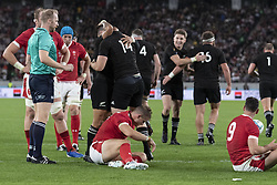 November 1, 2019, Tokyo, Japan: Players of New Zealand congratulate to Ben Smith after scoring a try during the Rugby World Cup 2019 Bronze Final between New Zealand and Wales at Tokyo Stadium. New Zealand defeats Wales 40-17. (Credit Image: © Rodrigo Reyes Marin/ZUMA Wire)