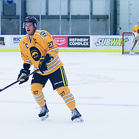 4th year forward Cody Fowlie (27) of the Regina Cougars in action during the Men's Hockey Home Game on November 5 at Co-operators arena. Credit: Arthur Ward/Arthur Images