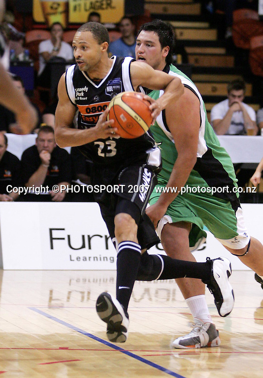Hawk's Clifton Bush in action during the NBL basketball match between the Bay Hawks and Manawatu Jets at the Pettigrew Green Arena, Napier on Wednesday 25 April 2007. Photo: John Cowpland/PHOTOSPORT<br /> <br /> <br /> <br /> <br /> <br /> 250407 nz