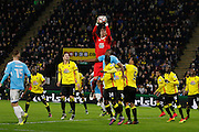 Watford goalkeeper Costel Pantilimon (30) collects a cross during the The FA Cup 3rd round match between Watford and Burton Albion at Vicarage Road, Watford, England on 7 January 2017. Photo by Richard Holmes.