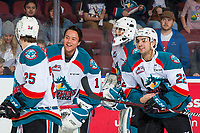 KELOWNA, CANADA - FEBRUARY 2:  James Porter #1, Roman Basran #30, Kyle Crosbie #25 and Matt Barberis #22 of the Kelowna Rockets celebrate the OT win against the Kamloops Blazers on February 2, 2019 at Prospera Place in Kelowna, British Columbia, Canada.  (Photo by Marissa Baecker/Shoot the Breeze)