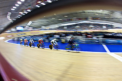 © Licensed to London News Pictures. 20/02/2011. The Women's Keirin Repechage gets under way at the UCI Track Cycling World Cup in Manchester today (20/02/2011). Photo credit should read: Reuben Tabner/LNP