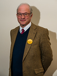 North Berwick, East Lothian, Scotland, United Kingdom, 28 November 2019. General Election: First hustings for the 5 candidates seeking election as MP for East Lothian with questions from the audience rating fro Defence to Honesty. Pictured: Robert O'Riordan, Scottish Liberal Democrats candidate.<br /> Sally Anderson   EdinburghElitemedia.co.uk