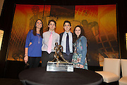 2014 Hobey Baker Award winner Johnny Gaudreau (Boston College) with his sisters and brother at the Loews Hotel, Center City in Philadelphia, PA Friday April 11th 2014<br /> <br /> Mandatory Credit: Todd Bauders/ ContrastPhotography.com