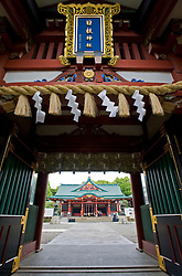 Ornate entrance gate to Hie Jingu Shinto Shrine in central Tokyo Japan