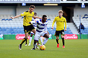 Queens Park Rangers midfielder Kazenga LuaLua (28) screening the ball during the EFL Sky Bet Championship match between Queens Park Rangers and Burton Albion at the Loftus Road Stadium, London, England on 28 January 2017. Photo by Matthew Redman.