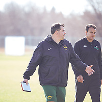 Women's Soccer Assistant Coach, Rob McCaffrey of the Regina Cougars during the Women's Soccer away game on Sat Oct 06 at Universtity of Saskatchewan . Credit: Arthur Ward/Arthur Images