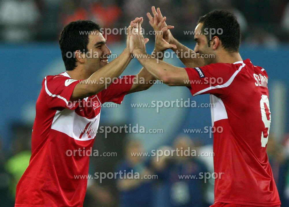 Arda Turan and Semih Senturk of Turkey celebrate during penalty shots during the UEFA EURO 2008 Quarter-Final soccer match between Croatia and Turkey at Ernst-Happel Stadium, on June 20,2008, in Wien, Austria.  (Photo by Vid Ponikvar / Sportal Images)