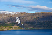 Dynjandi waterfall in evening light, West fiords of Iceland.