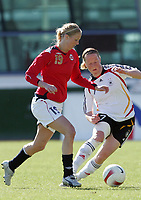 20080312: VILA REAL SANTO ANTONIO, PORTUGAL – Germany vs Norway during XV Algarve Women 's Football Cup, for 3rd / 4th places. In picture: Marit Christensen (Norway) and Melanie Behringer (Germany). PHOTO: CITYFILES