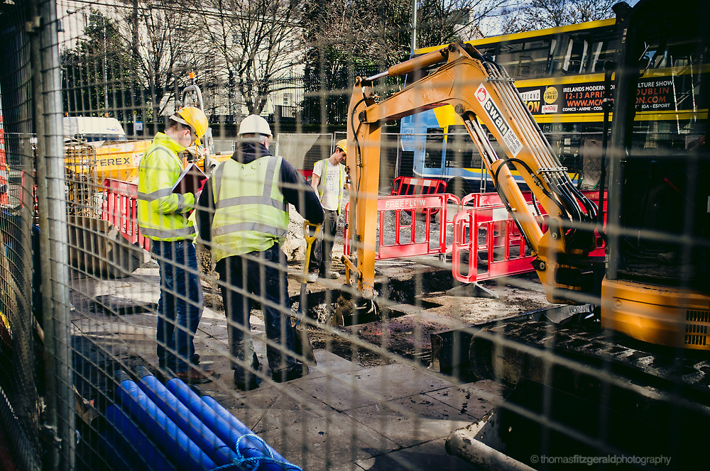 Workers on the Luas Cross City construction.