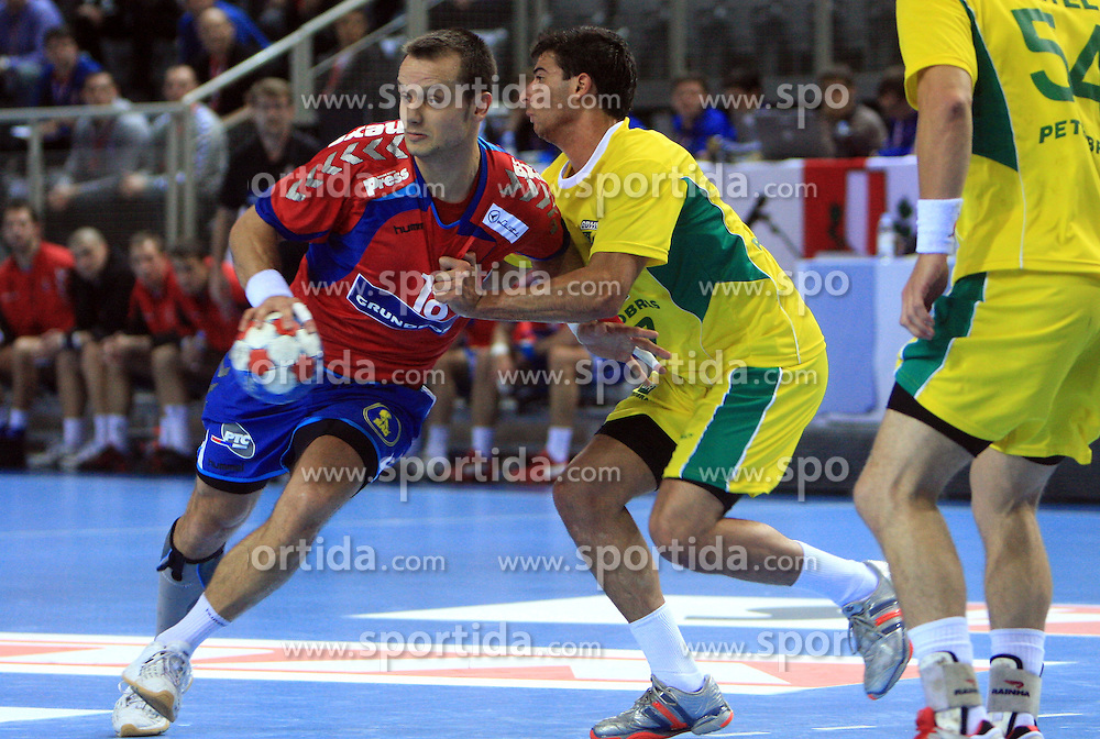 Danijel Andjelkovic of Serbia during 21st Men's World Handball Championship preliminary Group D match between Serbia and Brazil, on January 19, 2009, in Arena Zatika, Porec, Croatia. Win of Brazil 32:30.(Photo by Vid Ponikvar / Sportida)