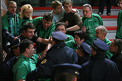 Torcida-  Fans of Rudar crushed on a referee so police and bodyguards took action (one was arrested) at handball game RK Slovan vs RK Rudar EVJ Trbovlje in 20th round of Slovenian handball championship, on February 29, 2008 in Ljubljana, Slovenia. Win of Slovan 27:26. (Photo by Vid Ponikvar / Sportal Images)