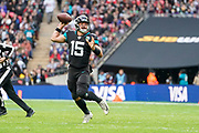 Jacksonville Jaguars Quarterback Gardner Minshew (15) in action during the International Series match between Jacksonville Jaguars and Houston Texans at Wembley Stadium, London, England on 3 November 2019.