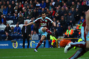 Joey Barton makes it 1-0 Burnley during the Sky Bet Championship match between Preston North End and Burnley at Deepdale, Preston, England on 22 April 2016. Photo by Pete Burns.