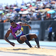 Will Claye, USA, finishing second in the Men's Triple Jump Competition with a jump of 16.96m during the Diamond League Adidas Grand Prix at Icahn Stadium, Randall's Island, Manhattan, New York, USA. 13th June 2015. Photo Tim Clayton