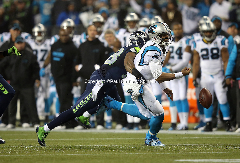 Carolina Panthers quarterback Cam Newton (1) fumbles the ball as he gets hit by Seattle Seahawks defensive end O'Brien Schofield (93) on a second quarter play during the NFL week 19 NFC Divisional Playoff football game against the Seattle Seahawks on Saturday, Jan. 10, 2015 in Seattle. The Seahawks won the game 31-17. ©Paul Anthony Spinelli