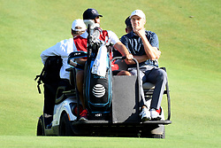 June 25, 2017 - Cromwell, Connecticut, U.S - Jordan Spieth takes a ride to the first play off tee during the Travelers Championship at TPC River Highlands in Cromwell, Connecticut. (Credit Image: © Brian Ciancio via ZUMA Wire)