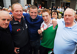 Ray Moylette pictured with Dessie, Gary, Martin, and Ger Kennedy at the homecoming celebration...Pic Conor McKeown