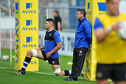 Bath Rugby Head Coach Mike Ford looks on during the pre-match warm-up - Mandatory byline: Patrick Khachfe/JMP - 07966 386802 - 13/09/2015 - RUGBY UNION - Memorial Stadium - Bristol, England - Gloucester Rugby v Bath Rugby - West Country Challenge Cup.