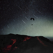 Surreal nightscape with paraglider and falling stars<br /> Society6 Prints &amp; more: http://bit.ly/2rMx6WP<br /> REDBUBBLE: http://rdbl.co/2t1AsJ9