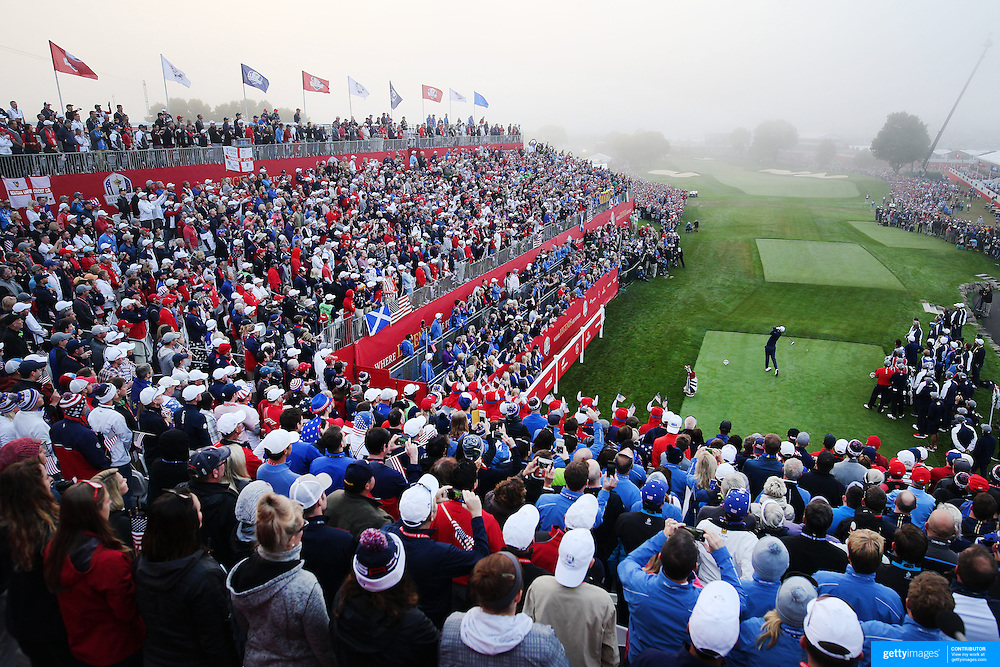 Ryder Cup 2016. Day One. Justin Rose tees off on the first to start the Ryder Cup at the Hazeltine National Golf Club on September 30, 2016 in Chaska, Minnesota.  (Photo by Tim Clayton/Corbis via Getty Images)