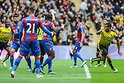 Watford's Troy Deeney scores an equalising goal for his team during the The FA Cup match between Crystal Palace and Watford at Wembley Stadium, London, England on 24 April 2016. Photo by Shane Healey.