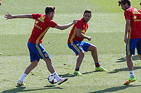 Spanish Saul Iniguez and Koke Resurrecccion during the second training of the concentration of Spanish football team at Ciudad del Futbol de Las Rozas before the qualifying for the Russia world cup in 2017 August 30, 2016. (ALTERPHOTOS/Rodrigo Jimenez)