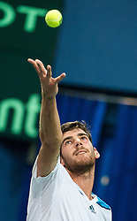06.04.2014, Aegon Arena, Bratislava, SVK, ITF, Davis Cup, Slowakei vs Oesterreich, 2. Runde, Europa-Afrika-Zone I, im Bild Gerald Melzer (AUT) // Gerald Melzer (AUT) during the 2nd round of Europe Africa zone one of ITF Davis Cup between Slovakia and Austria at the Aegon Arena in Bratislava, Slovakia on 2014/04/06. EXPA Pictures © 2014, PhotoCredit: EXPA/ Michael Gruber