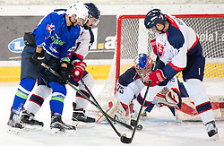 13.02.2016, Olympiaworld, Innsbruck, AUT, Euro Ice Hockey Challenge, Slowakei vs Slowenien, im Bild Ken Ograjensek (SLO), Matus Holenda (SVK), Samuel Baros (SVK) und Denis Rehak (SVK) // Ken Ograjensek of Slowenia Matus Holenda of Slovakia Samuel Baros of Slovakia and Denis Rehak of Slovakia during the Euro Icehockey Challenge Match between Slovakia and Slovenia at the Olympiaworld in Innsbruck, Austria on 2016/02/13. EXPA Pictures © 2016, PhotoCredit: EXPA/ Jakob Gruber