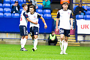 Bolton Wanderers midfielder Dennis Politic celebrates his goal with Bolton Wanderers forward Eddie Brown during the EFL Trophy match between Bolton Wanderers and Bradford City at the University of  Bolton Stadium, Bolton, England on 3 September 2019.