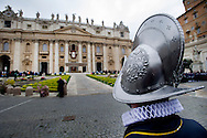 Vaican City 05/04/2015, the pope gives Urbi et Orbi blessing. In the picture St Peter's Basilica and a swiss guard - ©PIERPAOLO SCAVUZZO