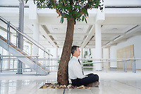 Businessman resting under tree outside office