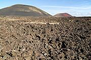 Malpais badlands volcanic landscape volcano cones, Parque Natural Los Volcanes, Lanzarote, Canary islands, Spain