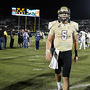 UCF Knights quarterback Blake Bortles (5) walks off the field after defeating the South Florida Bulls by a score on 23-20 at Bright House Networks Stadium on Friday, November 29, 2013 in Orlando, Florida. (AP Photo/Alex Menendez)