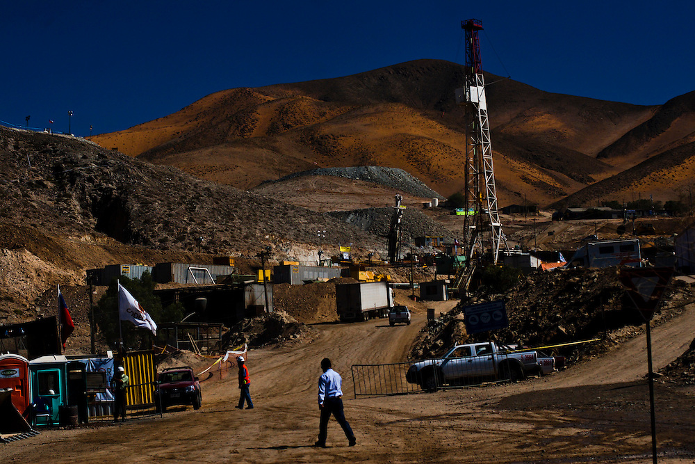 "Difents machinnes works drilling at San Jose Mine. From August 5th, 33 miners are trapped after a cave-in at San Jose Mine in the north of Chile. 17 days after these miners were discovered, alive. More of two months after they will be rescue. All this time some families stay out side the mine borders waiting for news and theses parents, the past of the days gives place a little town knows as ""Camp Hope""."