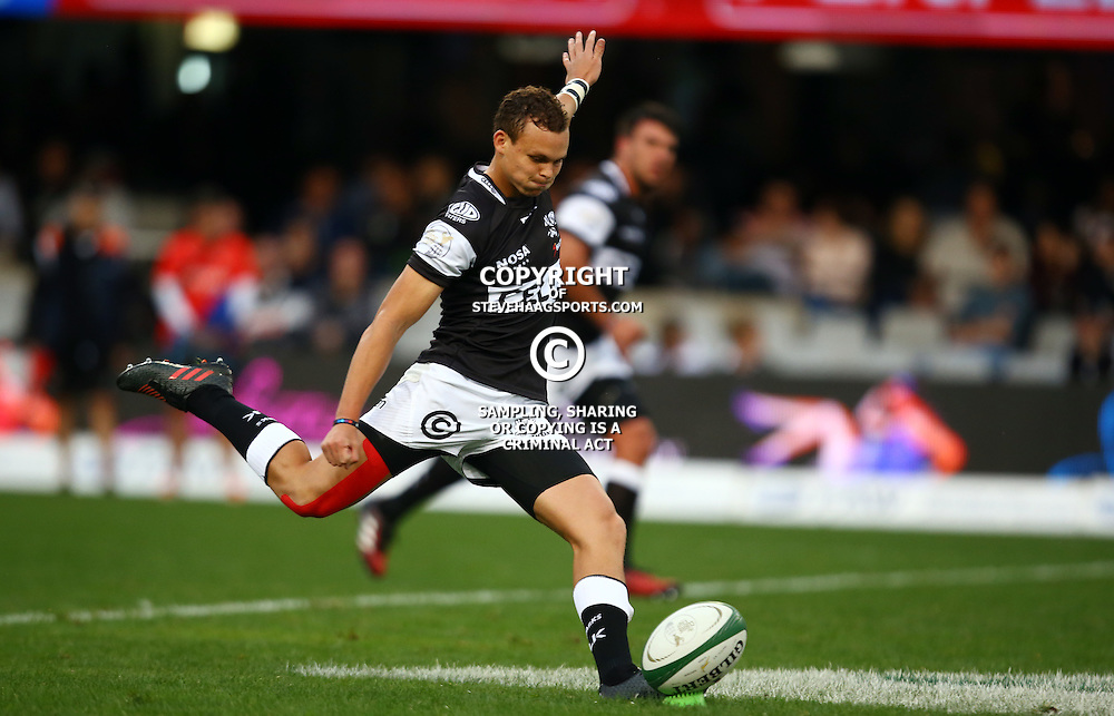 DURBAN, SOUTH AFRICA - SEPTEMBER 10: Curwin Bosch of the Cell C Sharks during the Currie Cup match between the Cell C Sharks and Toyota Cheetahs at Growthpoint Kings Park on September 10, 2016 in Durban, South Africa. (Photo by Steve Haag/Gallo Images)