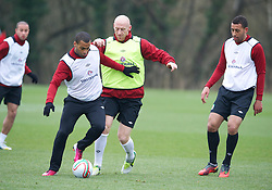 CARDIFF, WALES - Sunday, March 24, 2013: Wales' Jermaine Easter and James Collins during a training session at the Vale of Glamorgan ahead of the 2014 FIFA World Cup Brazil Qualifying Group A match against Croatia. (Pic by David Rawcliffe/Propaganda)  CARDIFF, WALES - Sunday, March 24, 2013: Wales' xxxx during a training session at the Vale of Glamorgan ahead of the 2014 FIFA World Cup Brazil Qualifying Group A match against Croatia. (Pic by David Rawcliffe/Propaganda)