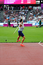 London, August 12 2017 . Ashley Bryant, Great Britain, the men's decathlon javelin on day nine of the IAAF London 2017 world Championships at the London Stadium. © Paul Davey.
