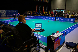 LIVERPOOL, ENGLAND - Wednesday, August 15, 2018: Everton's Chief Executive Professor Denise Barrett-Baxendale and Liverpool FC's Chief Executive Peter Moore play a round of Boccia at the BISFed 2018 Word Boccia Championships in the Liverpool Exhibition Centre. (Pic by David Rawcliffe/Propaganda)
