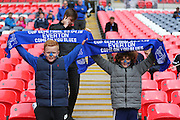 Young Everton fans during the The FA Cup semi final match between Everton and Manchester United at Wembley Stadium, London, England on 23 April 2016. Photo by Phil Duncan.