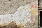Fragment of exterior frescoes on the base of the right bell tower of the church, built 1768, at the Mission San Jose, or Mission San Jose y San Miguel de Aguayo, a Spanish catholic colonial mission and church originally established in 1720 and completed in 1782, to spread Christianity among Native Americans, the largest of 4 missions in the San Antonio Missions National Historical Park, in San Antonio, Texas, USA. The complex was home to 350 Indians and had its own mill and granary. It was restored in the 1930s and again in 2011. It forms part of the San Antonio Missions UNESCO World Heritage Site. Picture by Manuel Cohen
