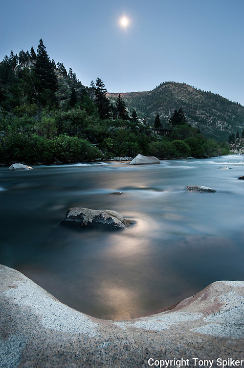 """Moon Over Truckee River 2"" - A long exposure photograph of the moon rising over the Truckee River."