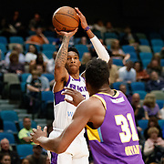 Reno Bighorns Guard MICHAEL BETHEA (23) shoots against South Bay Lakers Center THOMAS BRYANT (31) during the Western Conference Semi-Final NBA G-League Basketball game between the Reno Bighorns and the South Bay Lakers at the Reno Events Center in Reno, Nevada.