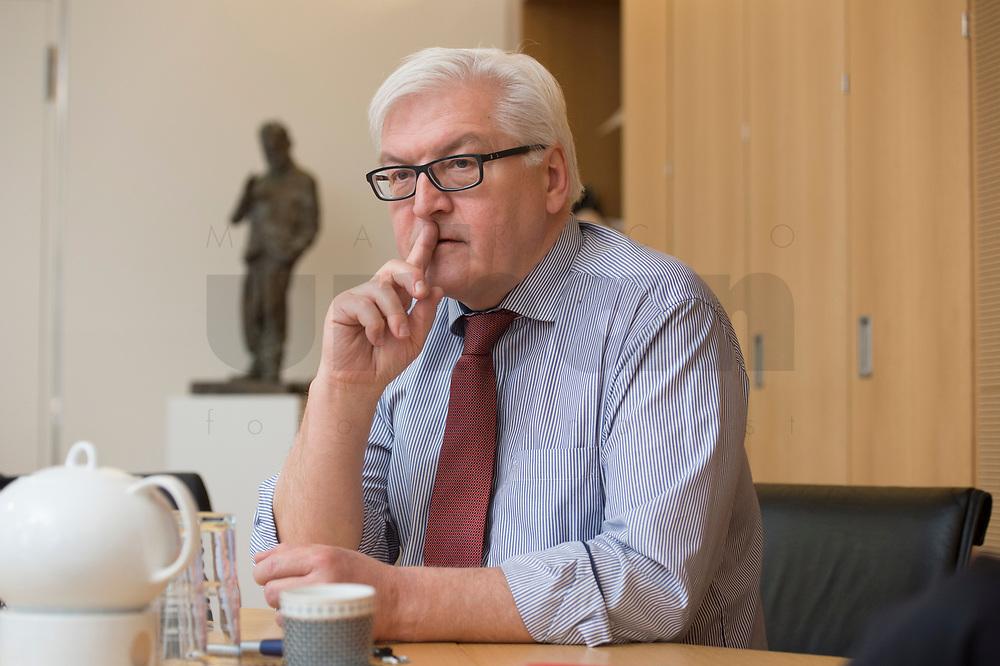 15 JAN 2013, BERLIN/GERMANY:<br /> Frank-Walter Steinmeier, SPD Fraktionsvorsitzender, waehrend einem Interview, in seinem Buero, Jakob-Kaiser-Haus, Deutscher Budnestag<br /> IMAGE: 20130115-01-028<br /> KEYWORDS: Büro